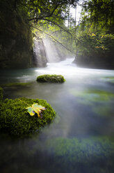 Austria, Hallstatt, natural brook, waterfall, sunlight - STCF00528