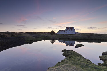 Iceland, Straumur, row houses in the evening light - STCF00552