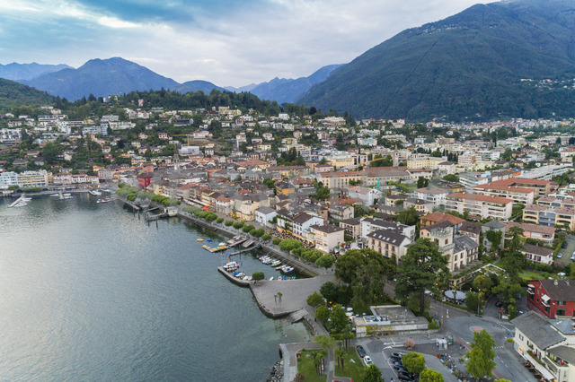 Switzerland, Ticino, Aerial view of Locarno, Lake Maggiore - TAMF00996