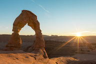Scenic view of Delicate Arch at Arches National Park against clear sky - CAVF27371