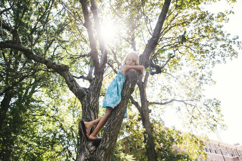 Low angle portrait of girl standing on tree - CAVF28366