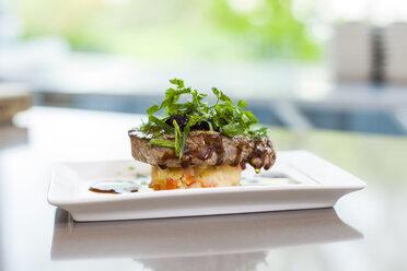 Garnished steak on plate - KVF00132