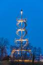Germany, Stuttgart, illuminated  Killesbergturm at blue hour - WDF04481