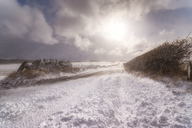 United Kingdom, Scotland, East Lothian, North Berwick, snowdrifts, blocked road - SMAF00988
