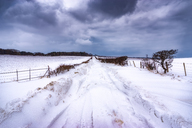 United Kingdom, Scotland, East Lothian, North Berwick, snowdrifts, blocked road - SMAF00991