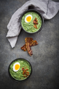 Cream of spinach soup with egg and bacon - LVF06824