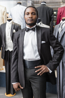 Portrait of a man wearing tuxedo in tailor shop - LFEF00124