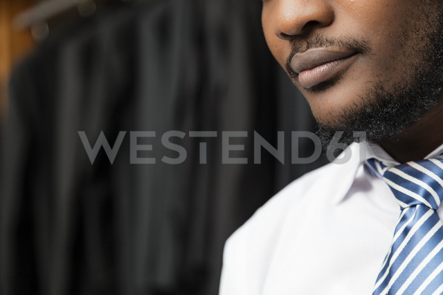 Close-up of an elegant man in tailor shop - LFEF00136