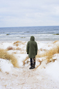 Rear view of mid adult man standing on beach in winter - FOLF00761