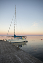Sailboat in harbor by pier - FOLF00839
