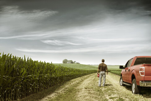 Rear view of farmer standing by car on field against cloudy sky - CAVF28846
