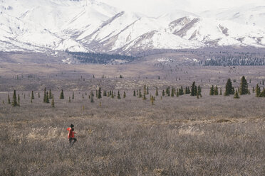 High angle view of woman walking on field against snowcapped mountains at Denali National Park - CAVF29427
