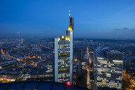 Germany, Hesse, Frankfurt, Financial district, Commerzbank Tower at blue hour - WIF03488