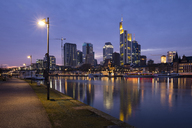 Germany, Hesse, Frankfurt, Skyline, Financial district, Main river at blue hour - WIF03491