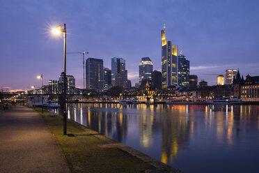 Germany, Hesse, Frankfurt, Skyline, Financial district, Main river at blue hour - WIF03491