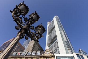Germany, Hesse, Frankfurt, Candelabra and Commerzbank Tower - WIF03494