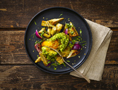 Filled avocado, egg, scalloped, toast, herbs, red onions, artichokes, cress - KSWF01886
