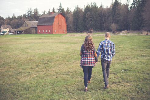 Rear view of couple holding hands and walking on grassy field - CAVF30816