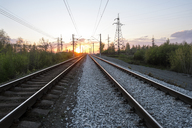 View of railroad tracks during sunset - CAVF31127