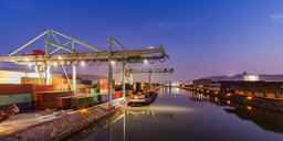 Germany, Stuttgart, Neckar, container harbor at blue hour - WDF04516