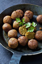 Vegan vegetable balls and parsley leaf in pan - CSF28999