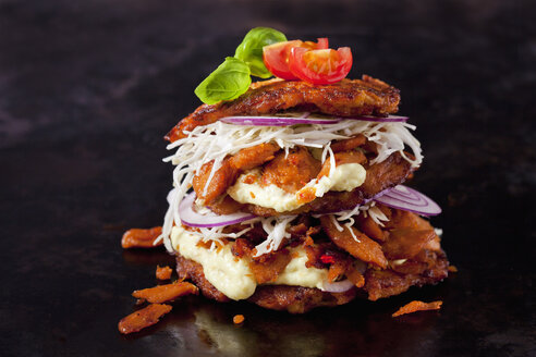Veggie Burger made of potato fritters,  sweet potatoes, soy meat, remoulade and Barbecue sauce - CSF29050