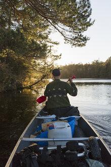 Rear view of man kayaking in Blekinge, Sweden - FOLF05462