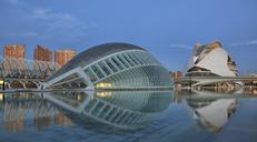 Spain, Valencia, Panoramic view of L'Hemisferic and Palau de les Arts Reina Sofia - OLE00067