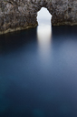 High angle view of natural arch over tranquil sea - CAVF31586