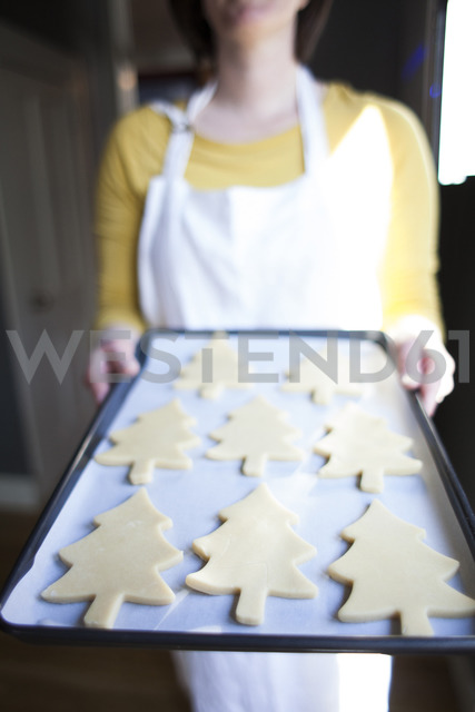 Midsection of woman with cookies in tray standing at home - CAVF31829