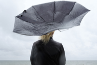 Woman under black umbrella watching Baltic Sea - FOLF06016