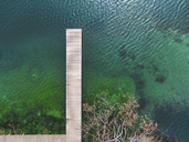 Germany, Bavaria, Chiemsee, aerial view of jetty - MMAF00335