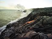 Hawaii, Big Island, Hawai'i Volcanoes National Park, lava flowing into pacfic ocean - CVF00321
