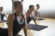 Women with male instructor practicing upward facing dog position in gym - CAVF33163