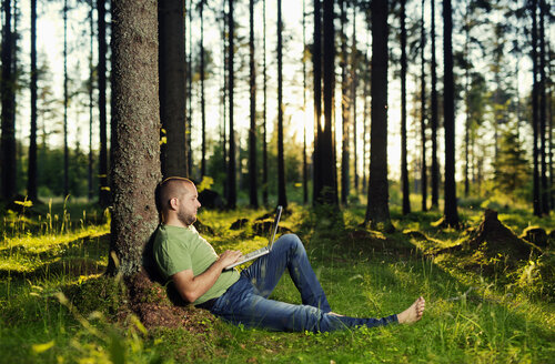 Man sitting by tree in spruce forest, using laptop - FOLF06799