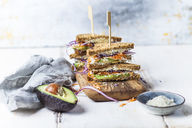 Veggie Sandwich, whole meal toast bread with grated carrot, red cabbage, white cabbage, avocado and cheese - SBDF03512
