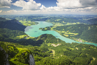 Austria, Salzkammergut, View from Mountain Schafberg to Lake Mondsee - AIF00461