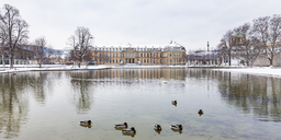 Germany, Baden-Wuerttemberg, Stuttgart, New Palace, Lake Eckensee in winter - WDF04558