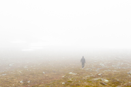 Rea view of female hiker in fog - FOLF07833