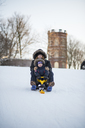 Mother and son on sled - FOLF07881