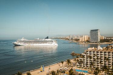 Mexico, Jalisco, Cruise ship at port entrance in Puerto Vallarta - ABA02205