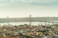 Portugal, Lisbon, view to the city with Ponte 25 de Abril in the background - TAMF01009