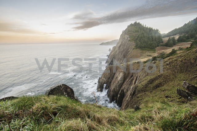 High angle view of cliff by sea against sky - CAVF34663 - Cavan Images/Westend61