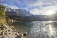 Germany, Garmisch-Partenkirchen, Grainau, Lake Eibsee at evening twilight - PVCF01306