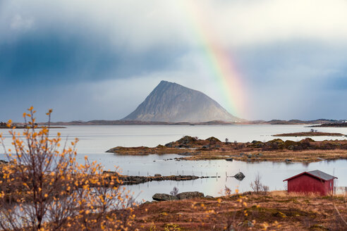 Norway, Lofoten Islands, coast and rainbow - WVF00981