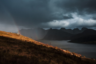 Norway, Lofoten Islands, rainbow, near Kvalvika Beach - WVF01011