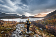 Norway, Lofoten Islands, Hiker on the way to Kvalvika Beach - WVF01014