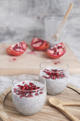 Two glasses of chia pudding with pomegranate seed - RTBF01149