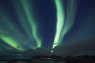 Norway, Lofoten Islands, Eggum, northern lights - WVF01042