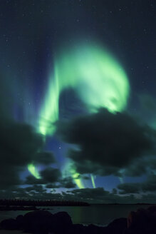 Norway, Lofoten Islands, Eggum, northern lights - WVF01045